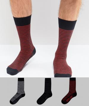 Levis Набор из 3 пар носков с полосками в подарочной упаковке. Цвет: темно-синий