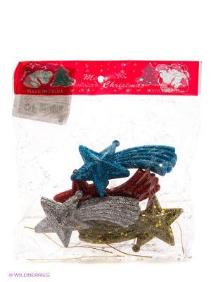 Новогоднее украшение-подвеска звезды, 4шт VELD-CO. Цвет: синий, желтый, красный, розовый