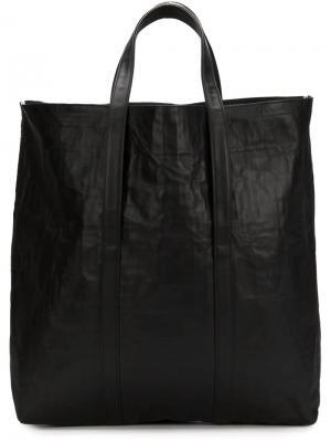 Большая кожаная сумка-тоут Zilla. Цвет: чёрный