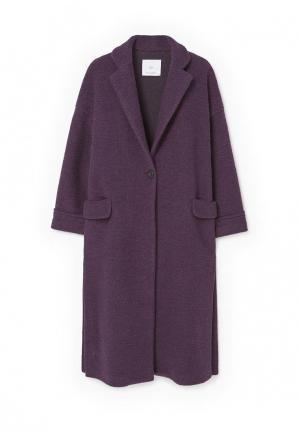 Пальто Mango. Цвет: фиолетовый