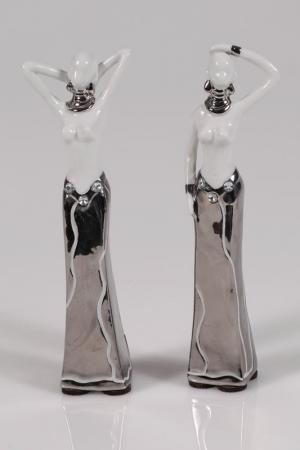 Набор из 2 статуэток 6x18x3,5 Mauro Ferretti. Цвет: белый