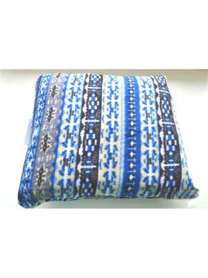 Флисовый плед-подушка 166х200 Традиция. Цвет: синий