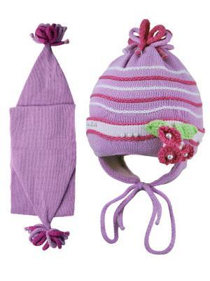 Шапка и шарф Grans. Цвет: сиреневый