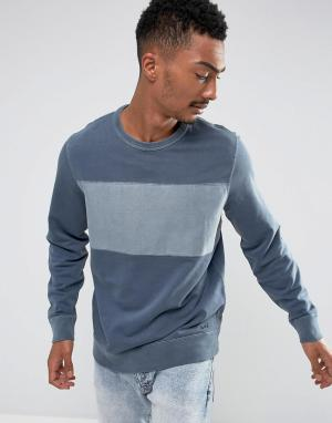 Abercrombie & Fitch Темно-синий свитшот с круглым вырезом и полосой на груди. Цвет: темно-синий