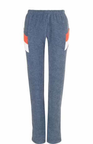 Хлопковые брюки прямого кроя с принтом Wildfox. Цвет: синий