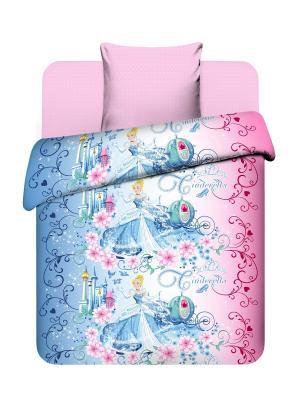 Комплект постельного белья из бязи Принцессы Дисней Василек. Цвет: голубой, розовый