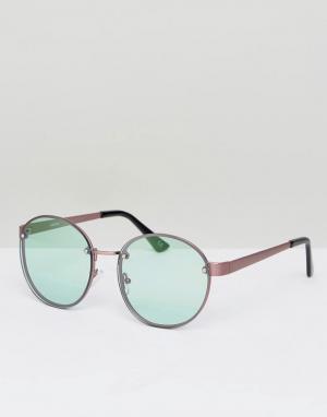 ASOS Круглые солнцезащитные очки в стиле 90-х с бледно-зелеными стеклами AS. Цвет: медный