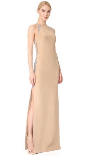 Длинное вечернее платье KAUFMANFRANCO. Цвет: бежевый/кристальный
