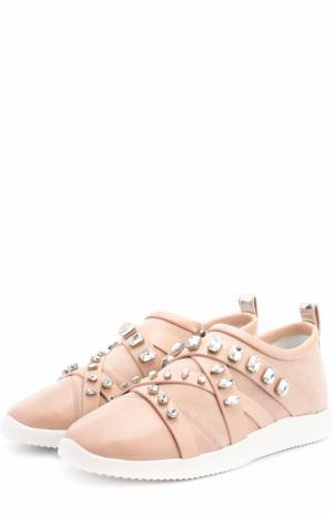 Комбинированные кроссовки с кристаллами Giuseppe Zanotti Design. Цвет: бежевый