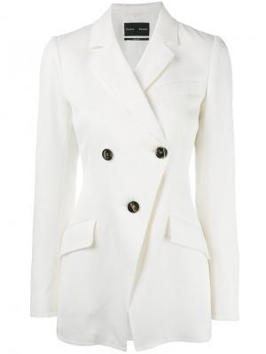 Двубортный пиджак Proenza Schouler. Цвет: белый