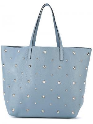 Большая сумка-шоппер с заклепками Red Valentino. Цвет: синий