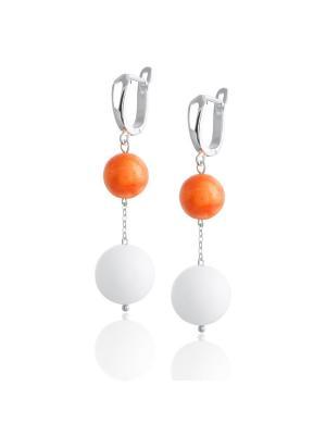 Серьги с яшмой и белым нефритом L'ATTRICE. Цвет: оранжевый, белый