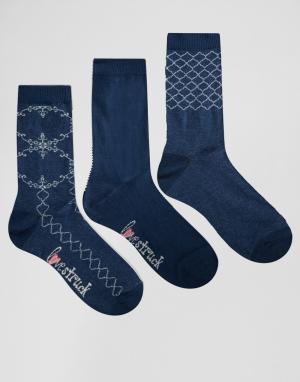 Lovestruck 3 пары носков с кружевным узором. Цвет: синий