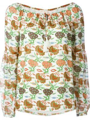 Блузка с цветочным принтом Tory Burch. Цвет: телесный