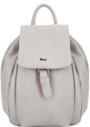 Однотонный кожаный рюкзак с одним отделом Bruno Rossi. Цвет: серый