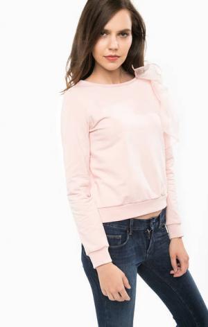 Свитшот с шелковыми нашивкой и вставкой Liu Jo. Цвет: розовый