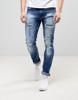 Loyalty & Faith Эластичные рваные джинсы скинни and Kaleb. Цвет: синий