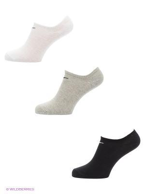 Носки Nike Value No-Show, 3 пары. Цвет: черный, серый, белый