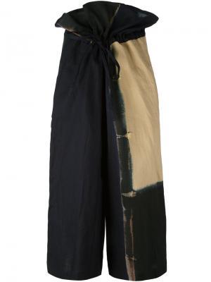 Укороченные широкие брюки  Ys Y's. Цвет: синий