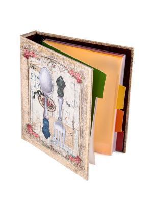 Книга для записи кулинарных рецептов 18*23*4см Русские подарки. Цвет: темно-бежевый, молочный