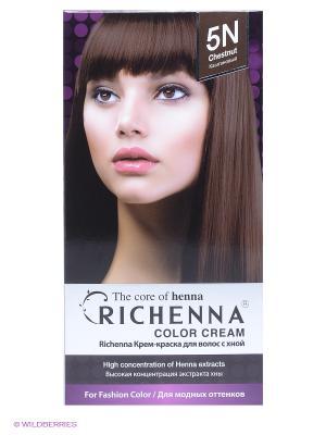 Крем-краска для волос с хной № 5N (Chestnut) Richenna. Цвет: коричневый
