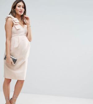 ASOS Maternity Платье-футляр для беременных с бантом на плече. Цвет: розовый