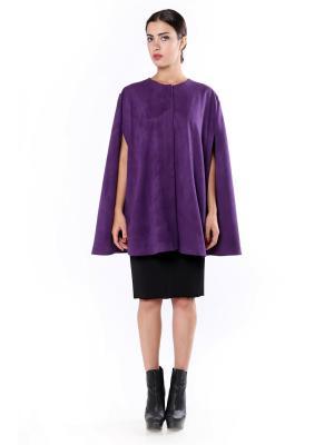 Кейп-накидка, плащ  Фиолет на шелковой подкладке из эко-замши SEANNA. Цвет: фиолетовый