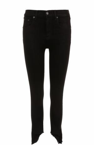 Укороченные однотонные джинсы-скинни Rag&Bone. Цвет: черный