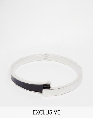 Designsix Асимметричный браслет. Цвет: серебряный