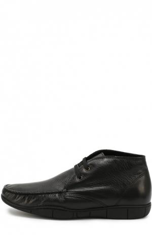 Кожаные ботинки на шнуровке A. Testoni. Цвет: черный