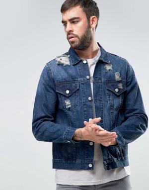 Dead Vintage Джинсовая куртка с потертой и рваной отделкой. Цвет: синий
