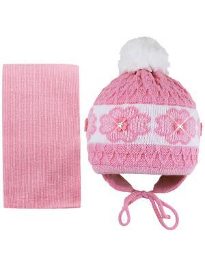 Шапка и шарф Grans. Цвет: розовый, белый