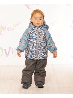 Комплект (куртка, ПК) демисезонный для мальчика Гаспар GooDvinKids. Цвет: бежевый, голубой