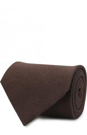 Галстук из смеси льна и шелка Brioni. Цвет: темно-коричневый