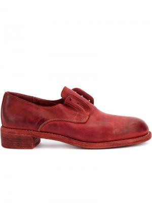 Броги на низком каблуке Guidi. Цвет: красный