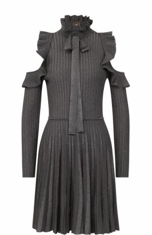 Плиссированное мини-платье с оборками и открытыми плечами Elie Saab. Цвет: серый