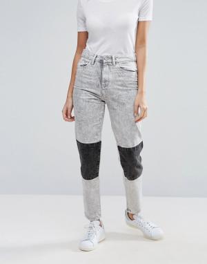 Waven Мраморные джинсы в винтажном стиле с накладками на коленях Elsa. Цвет: серый