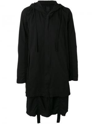 Длинное пальто с капюшоном Thom Krom. Цвет: чёрный