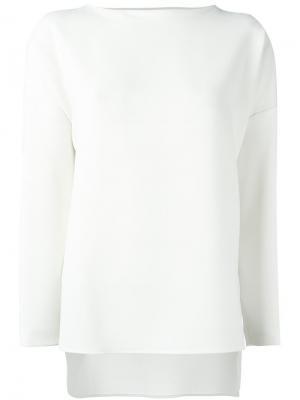 Блузка с длинными рукавами Alberto Biani. Цвет: белый