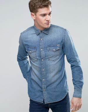 Jack & Jones Джинсовая рубашка в стиле вестерн Vintage. Цвет: синий