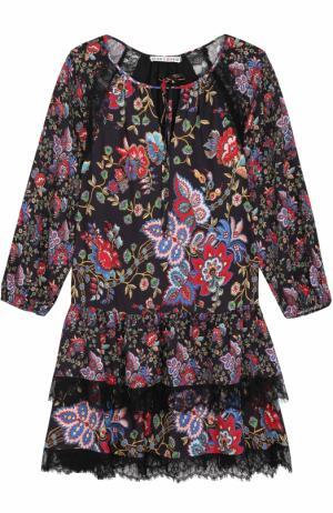 Мини-платье с принтом и кружевной отделкой Alice + Olivia. Цвет: разноцветный