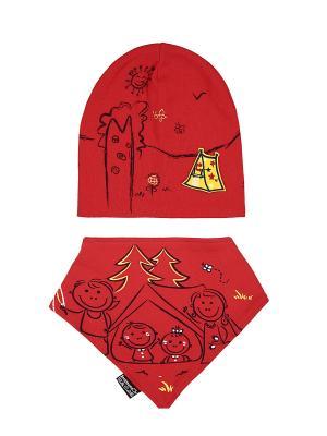 Комплект детский-шапка/косынка Оланж Ассорти. Цвет: красный