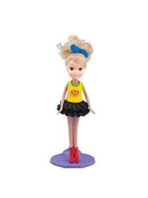 Набор для творчества с пластилином Fashion Dough и куклой Блондинка в черной юбке Toy Target. Цвет: желтый