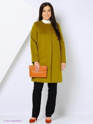 Пальто GallaLady. Цвет: зеленый