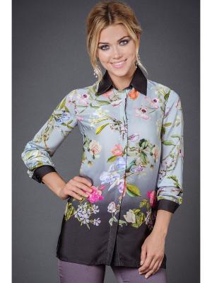 Блузка Арт-Деко. Цвет: серый, розовый, зеленый