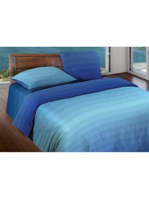 Комплект постельного белья 2,0 бязь Flow Blue Wenge. Цвет: светло-голубой, синий