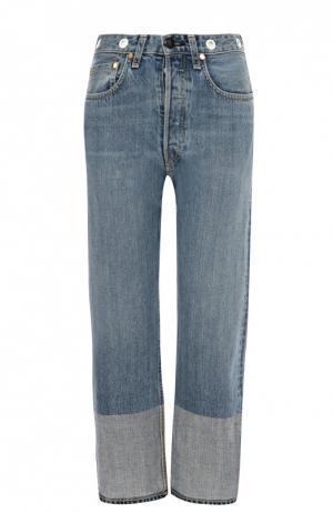 Укороченные джинсы прямого кроя с завышенной талией Rag&Bone. Цвет: голубой