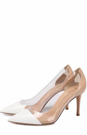 Кожаные туфли Plexi на шпильке Gianvito Rossi. Цвет: белый