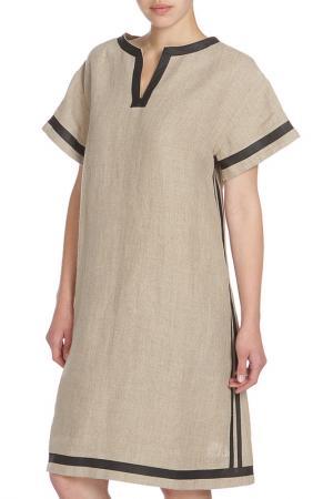 Трапециевидное платье окантованное полоской JC de Castelbajac. Цвет: бежевый