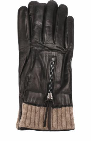Кожаные перчатки с вязаной отделкой и молниями Sermoneta Gloves. Цвет: черный
